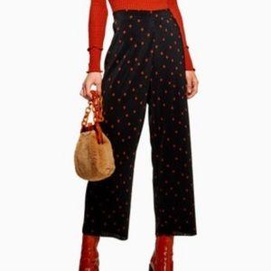 Topshop polka dot plisse spot trousers crop new